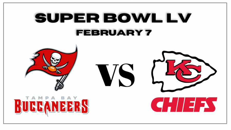 The Tampa Bay Buccaneers and the Kansas City Chiefs go head to head on February 7. (Graph made via Canva)