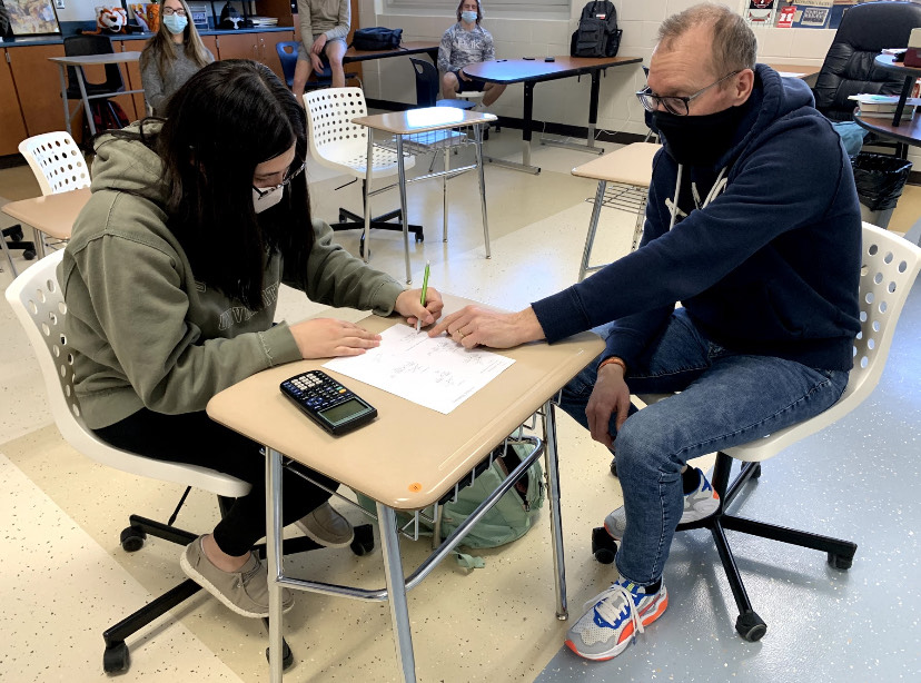 Mr. Boyle is providing senior Karlee Treadway with assistance as she finishes out her senior year.