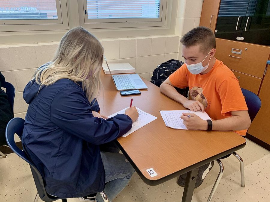 Seniors Laney Konz and Noah Richards are preparing hard for their AP Calc test on Monday, May 3.