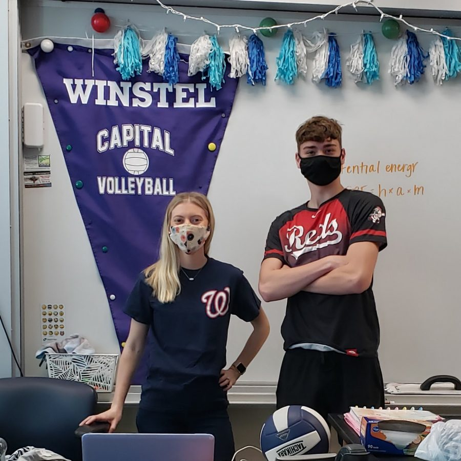 Science Teacher Mrs. Hollinger and Senior Luke Raibick can relate through a love of baseball, regardless of potential differences in political opinions.