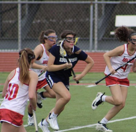 Freshman Maggie Henderson in the girls game against Milford. (Photo taken by Julie Miller; contributed by Emily Miller)