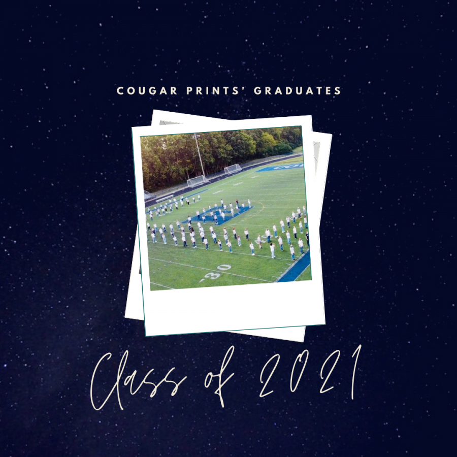 Cougar Prints sends off the Class of 2021 staff as they graduate. Art made on Canva.com.